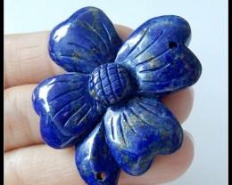 75.5Ct Natural Lapis Lazuli Flower Carving Pendant Beads