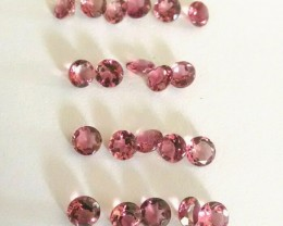 Pink tourmaline VVS 5 carat round 4mm - parcel 21 pieces