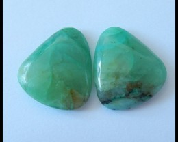 31.5Ct Natural Chrysocolla Gemstone Cbaochon Pair (C0077)
