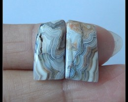 8Ct Natural Crazy Lace Agate Cabochon Pair (C0010)