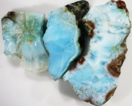 151.00 Cts  3 Pieses Dominican Larimar Rough  PPP 752