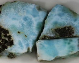 105.00 Cts  3 Pieses Dominican Larimar Rough  PPP 759