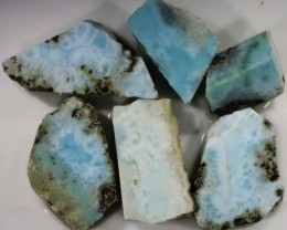 243.00 Cts  6 Pieses Dominican Larimar Rough  PPP 767
