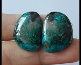 27Ct Natural Chrysocolla Gemstone Cabochon Pair