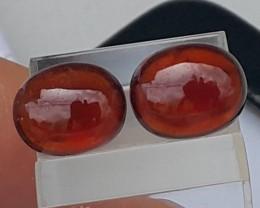 6.38cts, Red Spessartite Garnet Cabochon Pair..  Bright.. Vivid