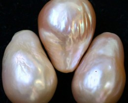 52.30 cts Three  Ivory/Apricot Pearls  PPP 674