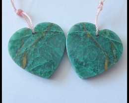 74Ct Natural Chrysocolla Gemstone Earring Beads Healing Stone B75