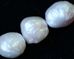 52.00 cts Three  Ivory/Apricot Pearls  PPP 686