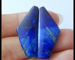19.65Ct Natural Dark Blue Lapis Lazuli Gemtone Cabochon Pair