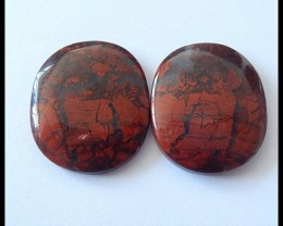 38.5Ct Natural African Red Jasper Gemstone Cabochon Pair(C0080)