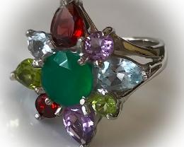 'Carnival' Beautiful Mixed Gem ring size 8.0