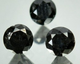 0.43 Cts Natural Black Diamond 3 Pcs Round Africa