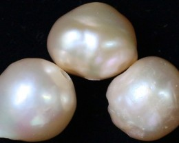 34.10 cts   3 natural  Apricot Pearls  PPP 798