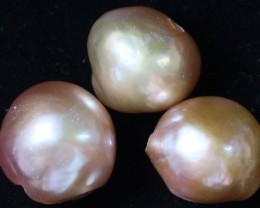 35.40 cts   3 natural  Apricot Pearls  PPP 817