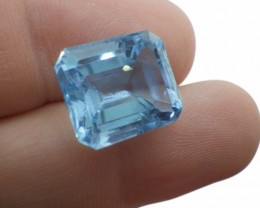 13 ct Sky Blue Topaz 14 x 12 mm Emerald Cut Gem from Brazil