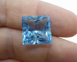 16 ct Sky Blue Topaz 14 x 14 mm Square Cut Gem from Brazil
