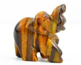 Genuine 60.80 Cts Golden Tiger Eye Carved Elephant
