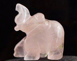 Genuine 69.70 Cts Hand Carved Pink Rose Quartz Elephant