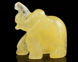 Genuine 85.90 Cts Hand Carved Yellow Aventurine Hand Carved Elephant
