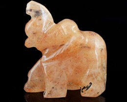Genuine 64.85 Cts Hand Carved Orange Aventurine Elephant