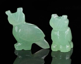 Genuine 81.45 Cts Green Jade Carved Bird Family