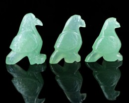 Genuine 88.80 Cts Green Jade Carved Bird Family