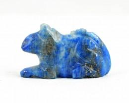 Genuine 22.00 Cts Blue Lapis Lazuli Carved Rat