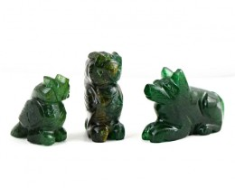 Genuine 95.50 Cts Green Jade Carved Animal Lot