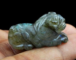 Genuine 43.85 Cts Labradorite Carved Lion