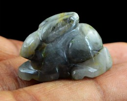 Genuine 35.55 Cts Labradorite Carved Rabbit