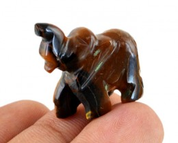 Genuine 44.00 Cts Golden Tiger Eye Carved Elephant