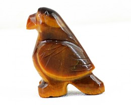 Genuine 24.00 Cts Golden Tiger Eye Carved Bird