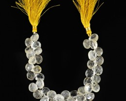 Genuine 201.30 Cts Golden Rutile Quartz 8 Inches Beads Strand`