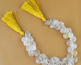 Genuine 183.70 Cts Rutile Quartz 8 Inches Beads Strand
