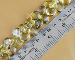 Genuine 335.05 Cts Lemon Quartz 8 Inches Beads Strand