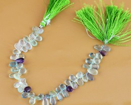 Genuine 95.95 Cts Multi Color Fluorite 8 Inches Beads Strand