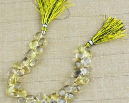 Genuine 206.85 Cts Lemon Quartz 8 Inches Beads Strand