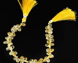 Genuine 72.10 Cts Yellow Citrine 8 Inches Beads Strand