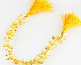 Genuine 92.30 Cts Yellow Citrine 8 Inches Beads Strand