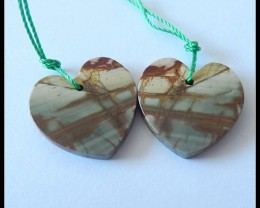 16.5Ct Natural Multi Color Picasso Jasper Heart Earring Beads B73