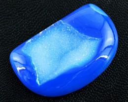 Genuine 63.00 Cts Blue Druzy Cab