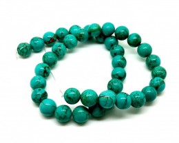 8mm Turquoise stone 255 cts  Natural beautiful round beads strands for sa