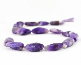 Genuine 233.05 Cts Purple Amethyst 14 Inches Faceted Beads Strand