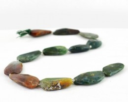 Genuine 244.00 Cts Moss Agate 14 Inches Faceted Beads Strand