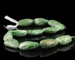 Genuine 473.00 Cts Forest Green Jasper 13 Inches Faceted Beads Strand
