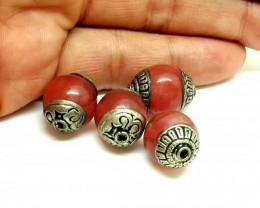 Nepalese Agate Brass 4 Beads 18x14mm 80 cts  antique collection quality