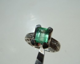 1.21 ct. Colombian Emerald Silver Ring