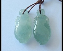 19Ct Natural Jade Vase Carved Earring Beads Pair