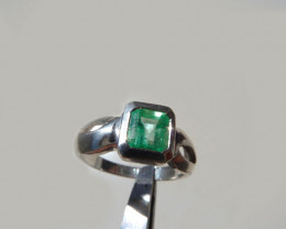 1.7 ct. Colombian Emerald Silver Ring