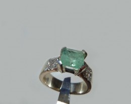 1.85 ct. Colombian Emerald Silver Ring